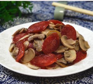 腊肠炒口蘑的家常做法