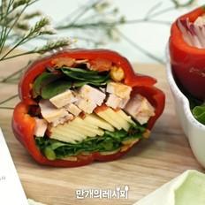 红灯笼椒三明治的做法