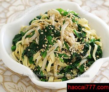 金针菇凉拌菠菜的做法
