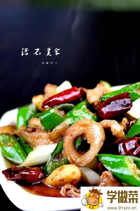 青椒干煸肥肠的家常做法