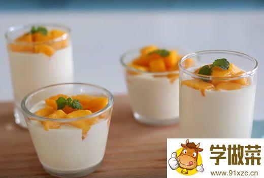 芒果牛奶奶酪的做法_图解好吃的芒果牛奶奶酪怎么做