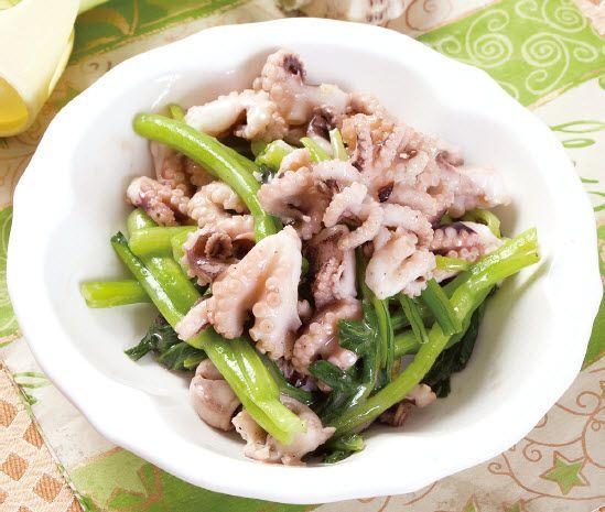 八爪鱼炒菜心怎么做?八爪鱼炒菜心的家常做法