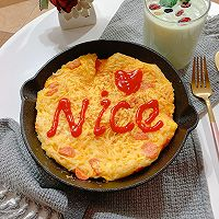 #憋在家里吃什么#新派美味:鸡蛋火腿肠面条煎饼的做法图解9